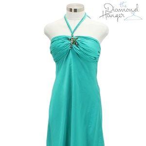 A95 CACHE Designer Dress Size 12 Large L Teal Sund